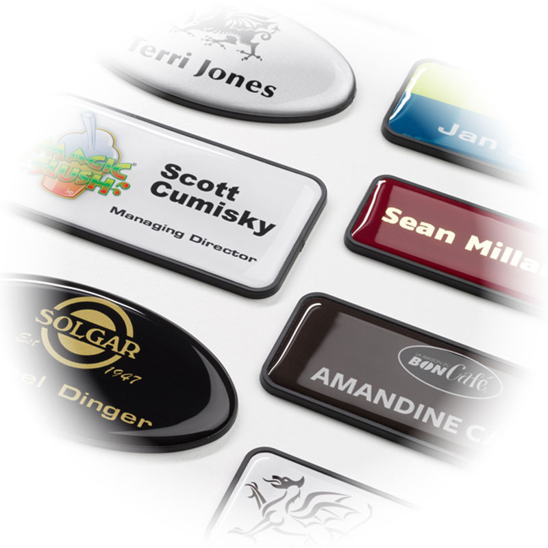 Many varieties of name badges at DAOSbiz